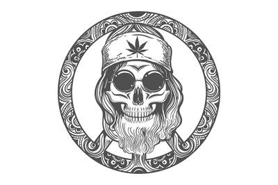 Old Hippie Skull on Symbol of Peace