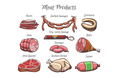 Meat Products Hand Drawn Color Illustration