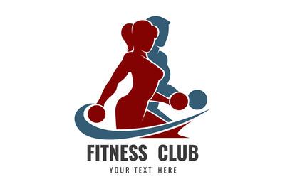 Fitness Club Logo with Training Bodybuilders