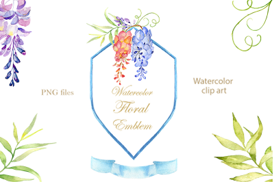 Watercolor floral emblem