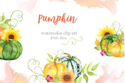Pumpkin watercolor clip art