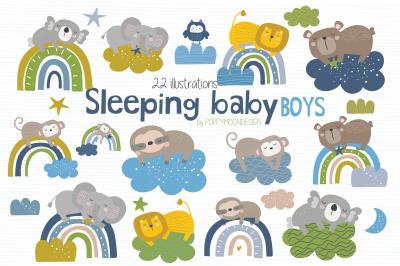 Sleeping baby Boys clipart