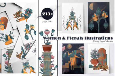WOMEN and FLORALS ILLUSTRATIONS