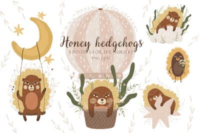 Honey hedgehogs. Children's posters