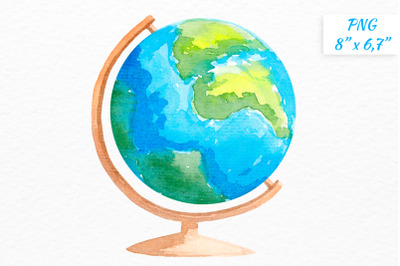 Globe clipart Watercolor globe School supply clipart