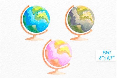 Globe Watercolor clipart Vintage globe Pink globe