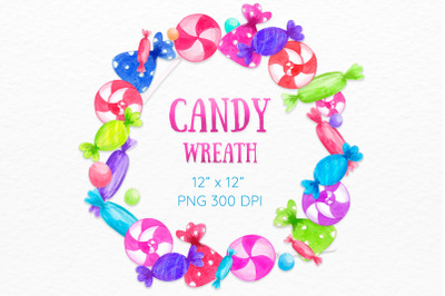 Candy wreath Birthday card Watercolor Sweets Colorful clipart