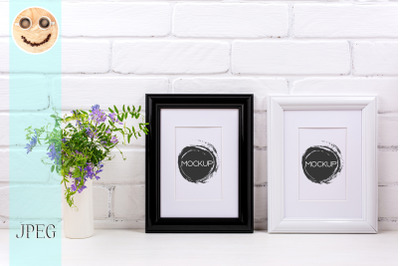 Black and white frames with mat mockup with bird vetch