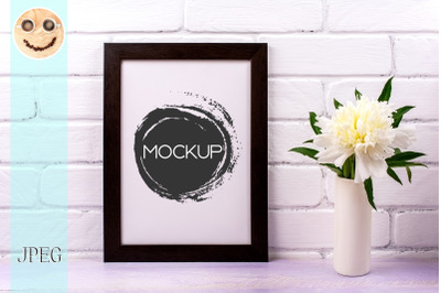 Black brown  poster frame mockup with white peony