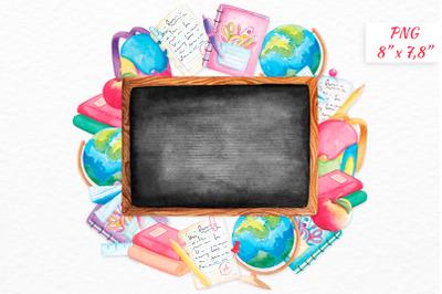 Watercolor Blackboard Back to school wreath clipart