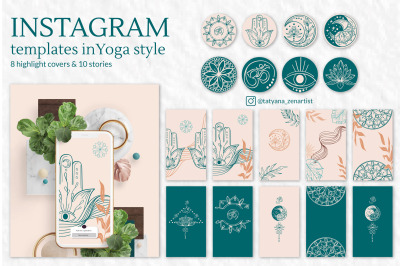 Collection of Instagram templates in modern yoga art style, vers. #2