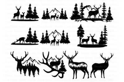 Deer Bundle SVG, Deer and Mountains SVG Files for Silhouette & Cricut.