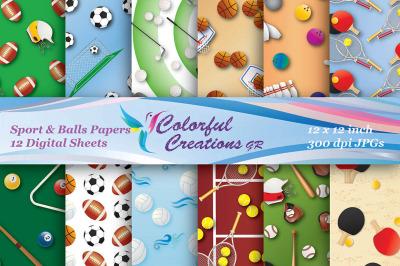 Sports Digital Papers, Balls, Baseball, Football, Soccer Ball, Golf, P