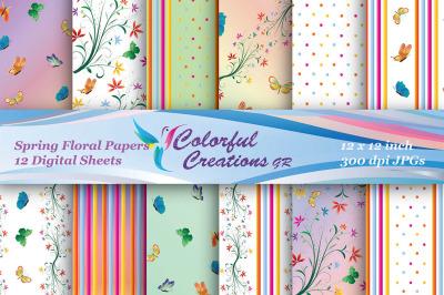 Spring Floral Digital Papers, Spring Digital Papers, Flowers, Butterfl