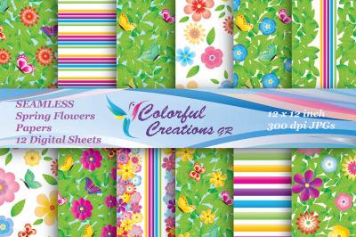 Spring Floral Seamless Digital Papers, Spring Digital Papers, Flowers,