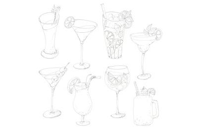Cocktails set hand drawnin pen ink