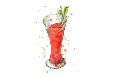 Cocktail blood mary hand drawn in watercolor sketch style