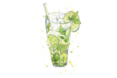 Cocktail mojito hand drawn in watercolor sketch style