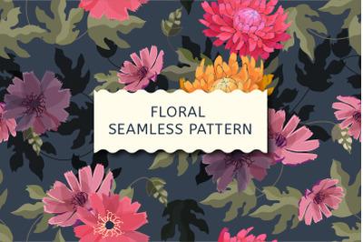 Autumn pattern. Chrysanthemums.