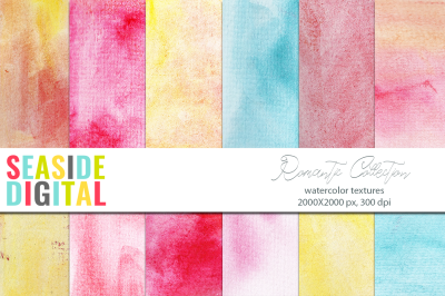 Watercolor textures - Romantic Collection