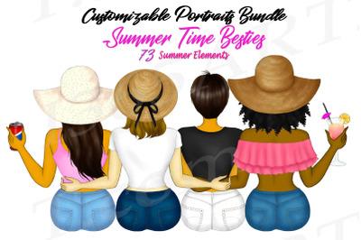 Best Friends  Summer Besties BFF Clipart Bundle
