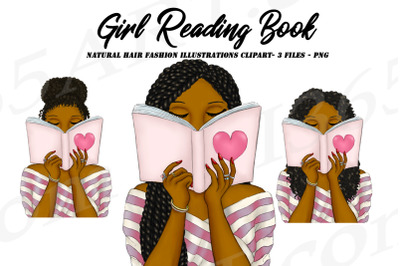 Reading Girls Natural Hair African American Clipart PNG