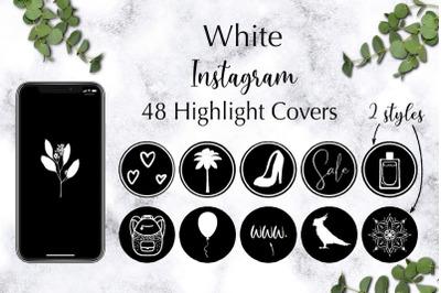 48 White Instagram Highlight Covers, Instagram Story icons