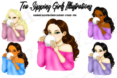 Tea Sipping Girls Fashion Clipart Illustrations