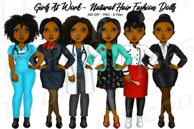 Working Career Girls African American Jobs Clipart