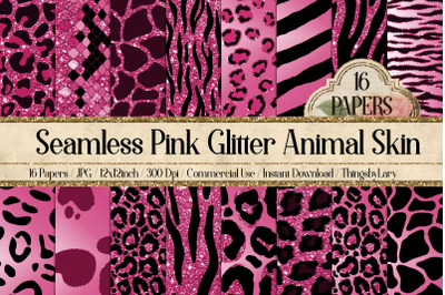 16 Seamless Pink Glitter Animal Skin Prints Digital Papers