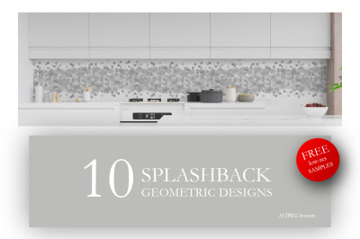 10 geometric abstract designs for kitchen glass splashbacks.