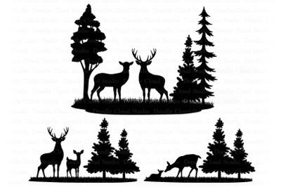 Deers Bundle SVG, Deer SVG Cut Files, Forest Deer Clipart,  Landscape