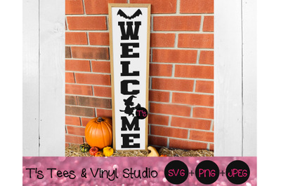 Halloween Welcome Svg, Witch Svg, Witch Girl Svg, Bat Svg, Porch Sign