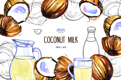 Watercolor coconut milk