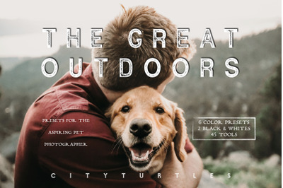 Moody Pet Photography Kit THE GREAT OUTDOORS Lightroom Desktop + Mobil