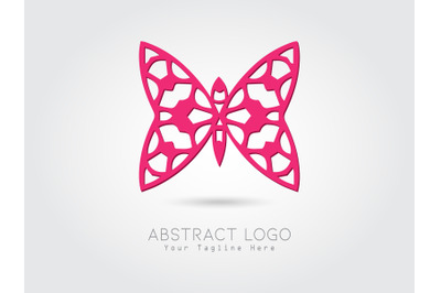 Logo Abstract Butterfly Pink Color
