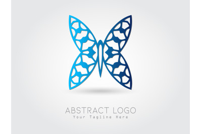 Logo Abstract Butterfly Gradation Blue Color