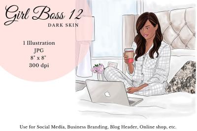 Watercolor FashionIllustration -Girl boss 12 - Dark Skin