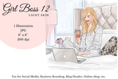 Watercolor FashionIllustration -Girl boss 12 - Light Skin
