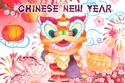 Chinese new year Watercolor clipart Chinese dragon Lanterns Clouds