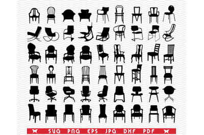 SVG Chairs Armchairs, Black silhouettes digital clipart