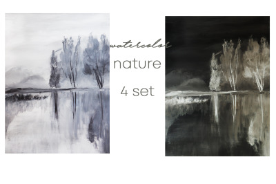 watercolor nature and landscape abstract trees and river