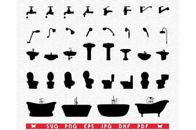 SVG Bathroom Elements, Black silhouettes digital clipart