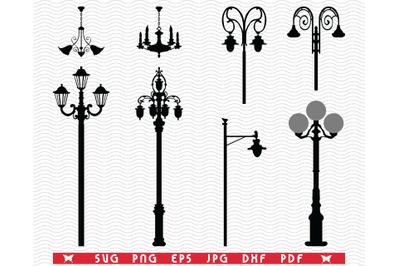 SVG Street Lanterns, Black silhouettes digital clipart