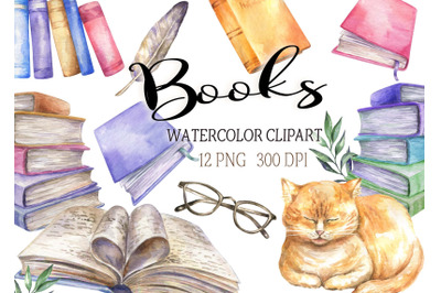 Watercolor books clipart cat  reading clip  writer png
