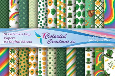 Happy St Patrick's Day Digital, St. Patricks Paper Clover, Scrapbook,P