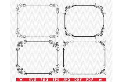 SVG Decorative Frames, Black silhouettes digital clipart