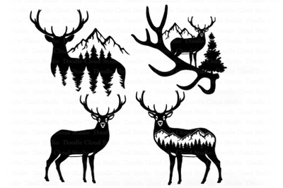 Deer in Forest Silhouette SVG, Nature Scene SVG.