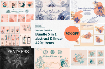 Summer Feminine abstract & linear Bundle 70% OFF. 5 in 1