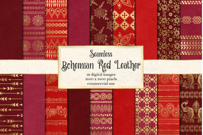 Bohemian Red Leather Digital Paper